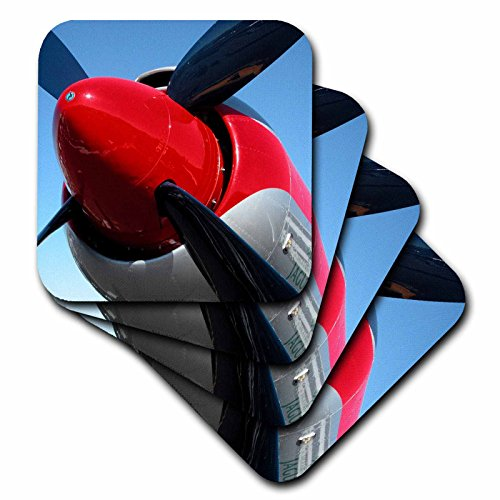 (3dRose cst_29338_3 Propeller Airplanes Photography-Ceramic Tile Coasters, Set of 4)