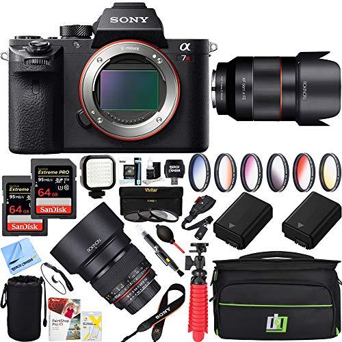 Sony a7R III 42.4MP Full-Frame Mirrorless Interchangeable Lens Camera Body + 50mm & 85mm f1.4 Dual Rokinon a7RIII Prime Lens Bundle