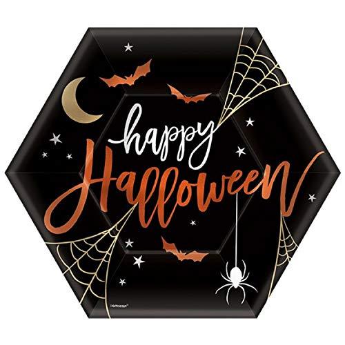 Fancy Me Halloween Party Tableware Plates Decorations Accessories Fun Halloween Quotes Metallic Black Witch Haunt It Poison Happy Halloween Accessories (Happy Halloween Plates) -