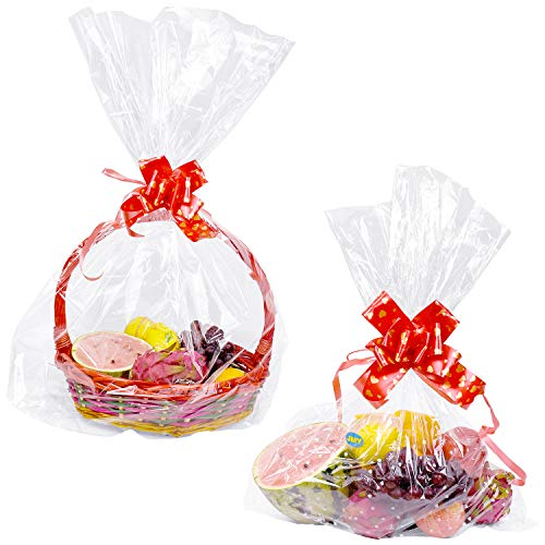 15 Pack Clear Basket Bags, Large Clear Cellophane Wrap Plastic Bag for Gifts Baskets Party Festivals (2 Style 31