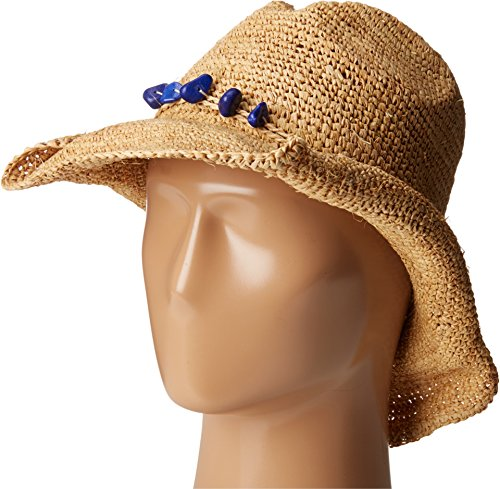 San Diego Hat Company Women's Crochet Raffia Cowboy Hat, Natural, Cobalt, OS