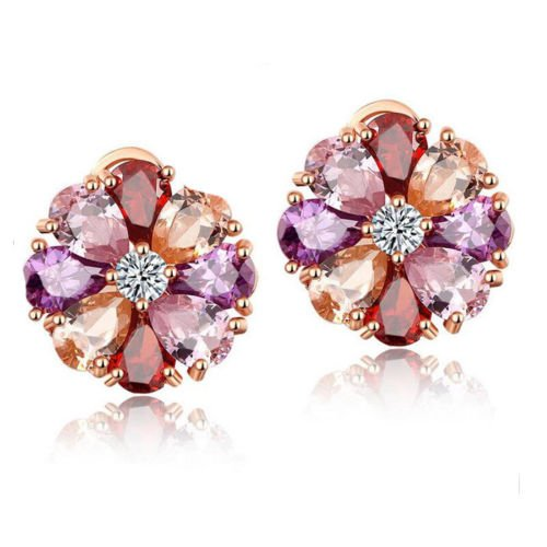 patcharin shop Mulit Natural Morganite Amethyst Garnet Rose Gold Plated Flower Stud Earrings (Flowers Ring Garnet)