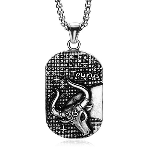 Dog Tag Zodiac (HIJONES Men's Stainless Steel 12 Constellations Zodiac Sign Taurus Dog Tag Pendant Necklace Vintage Silver Black)