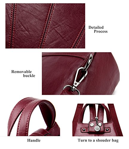 Backpack Womens Bags Vintage Leather IHAYNER School backpack Purse Shoulder Casual Wine T1xwq5dF5