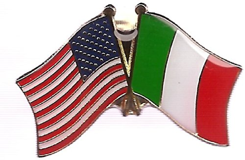 PACK OF 12 Italian Flag Lapel Pins, Italy Crossed Double Friendship Flag Pin (Dome Lapel Pin)