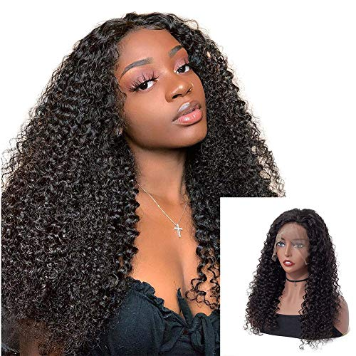 ISEE Hair Lace Front Human Hair Wigs 13x6 Mongolian Kinky Curly Wigs Pre Plucked with Baby Hair Natural Color for Black Women (22 inches)
