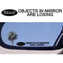 (2) Mirror Decals OBJECTS IN MIRROR ARE LOSING for PETERBILT 379 378 387 388 330 386 359 DUMP SLEEPER CABOVER SEMI TOW TRUCK by Peterbilt