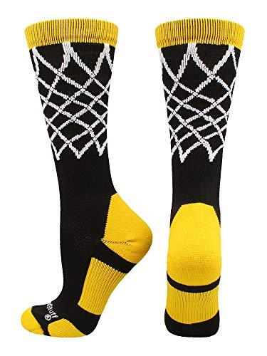 (MadSportsStuff Crew Length Elite Basketball Socks with Net (Black/Gold, Medium))