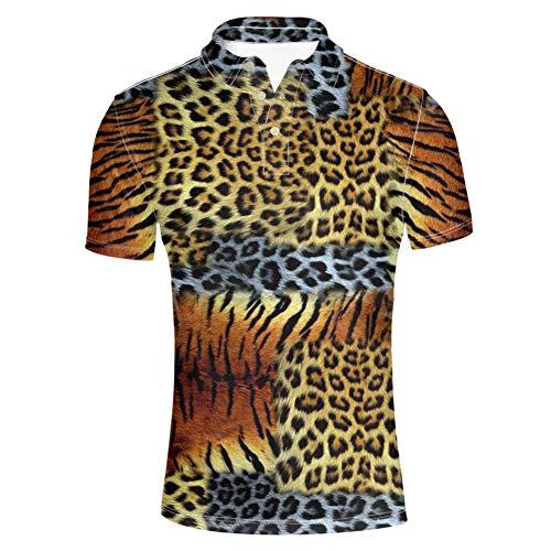 Tiger Striped Polo Shirt - HUGS IDEA Modern Men's Golf Polos Shirt Collars Button Down T-Shirts Leopard Tiger Striped Tee Animals Print Fashion Short Sleeves