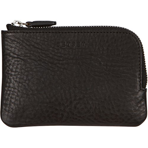 The Stowaway Wallet by JETSET, Full Grain Italian Leather High Capacity Zippered Travel Card Holder & Change Purse (Black)