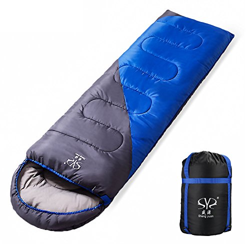 BicycleStore Camping Sleeping Bag Waterproof With Cap Comfortable Lightweight Mummy Bag With Portable Compression Bag Multifunctional for Outdoors/Travel/Indoors Suitable for 3 Seasons (blue+grey)