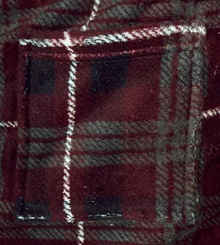 MacHenry Boys Burgundy Plaid Plush Coral Fleece Bathrobe Robe