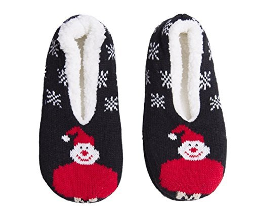 Blank&Black Womens Winter Collection Home Cozy Lined Slippers Socks Slip-on Non Skid with Gripper (Medium-Large, Black -