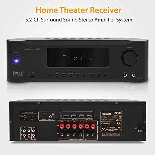 5.2-Channel Hi-Fi Bluetooth Stereo Amplifier – 1000 Watt AV Home Speaker Subwoofer Sound Receiver W/ Radio, USB, RCA, HDMI, Mic In, Wireless Streaming, Supports 4K UHD TV, 3D, Blu-Ray – Pyle PT694BT 51 8b aXTCL