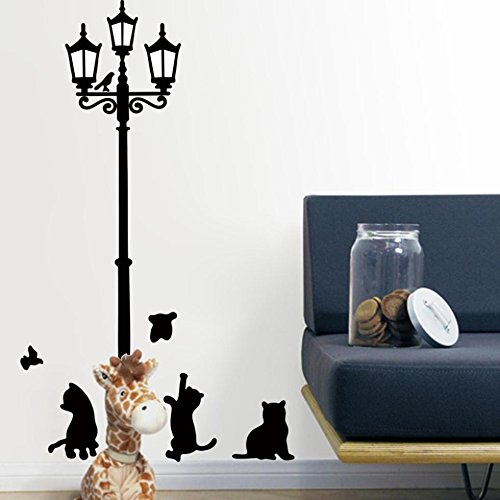 - FunnyPicker Lovely Cats Playing With Butterfly Around Lamppost Wall Decal Decorative Adesivo De Parede Removable Pvc Wall Sticker