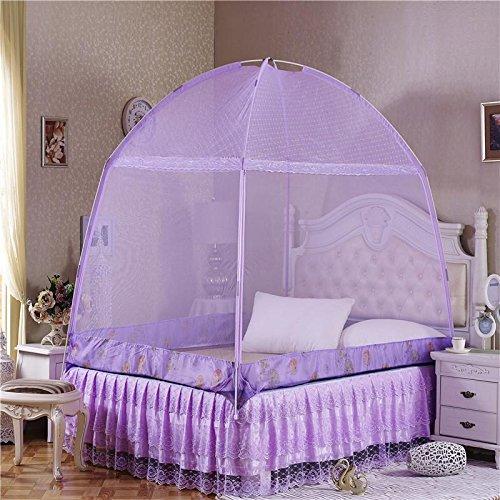 時間とともに黒くするレイアウト蚊帳、虫のポップアップテントのカーテンを防ぐベッドルーム,屋外の無料インストールと折りたたみ式のネットは、、紫、 1.8m ( 6 フィート)のベッド 1 台
