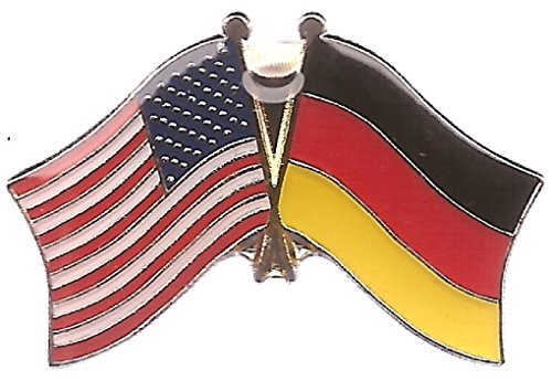 Pack of 3 Germany & US Crossed Double Flag Lapel Pins, German & American Friendship Pin Badge