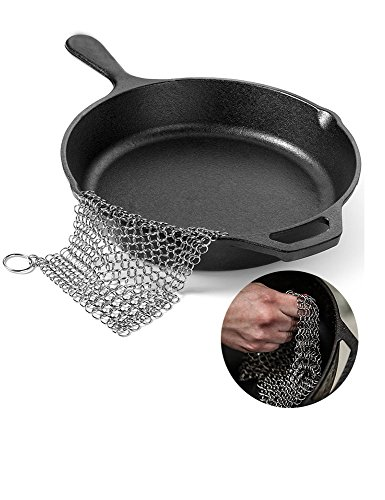 Price comparison product image Cast Iron Cleaner XL 8x6 Premium Stainless Steel Chain mail Scrubber to Clean Cast Iron Skillet,  Cookware,  pan,  wok and Griddle