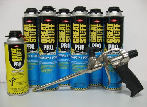 Dow Great Stuff Pro Window and Door 20oz Foam (6)+ Great Stuff Pro 14 Dispensing Gun (1)+Great Stuff Pro foam Gun Cleaner (1) by Dow