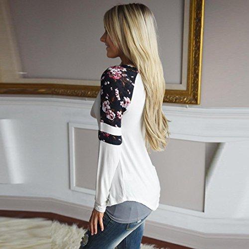 Donna Donna Donna Bianco Girocollo Floreale Felpe Maglietta S S S Pullover Lunga XL Stampa Manica Splice Yanhoo 2017 5fq4xwt1