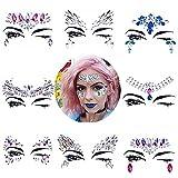 8 Sets Women Gems Glitter Rhinestone Mermaid Face Jewels Tattoo Crystal Tears Gem Stones Bindi Temporary Stickers