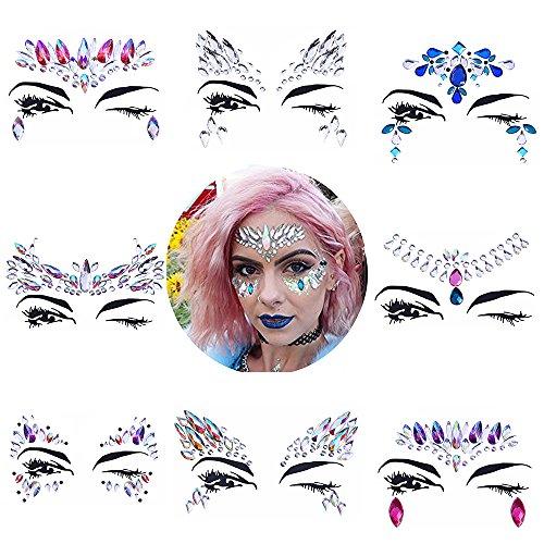 8 Sets Women Gems Glitter Rhinestone Mermaid Face Jewels Tattoo Crystal Tears Gem Stones Bindi Temporary Stickers by du fangbin (Image #10)