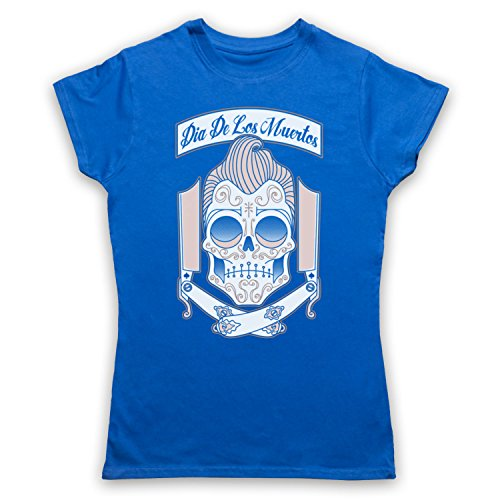 Dia De Los Muertos Mexican Day Of The Dead Camiseta para Mujer Azul Real