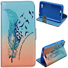 Voguecase® For BLU Studio Energy,Slim Fit PU Leather Case Cover with Stand (green feather 02) & Card Slots with Free Universal Screen-stylus