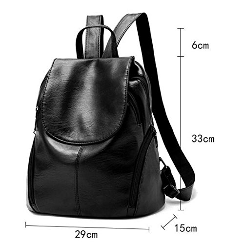 HMWHJP Student Casual New Side Sac Leather Sacs Élégant Main De Sport Soft Backpack à Black Lady WineRed rxIrFq
