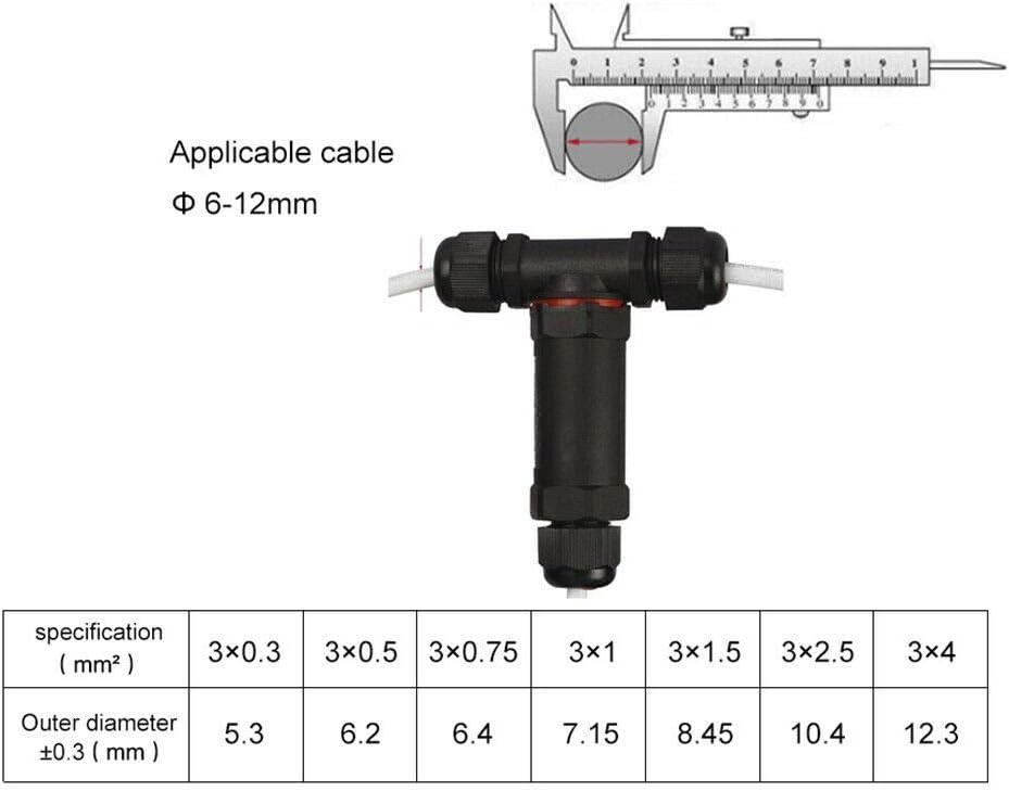 nylon ignifugo PA66,per una connessione rapida allilluminazione esterna e al cablaggio esterno connettore di filo di cavo elettrico 1//3 pezzi IP68 scatola di giunzione impermeabile