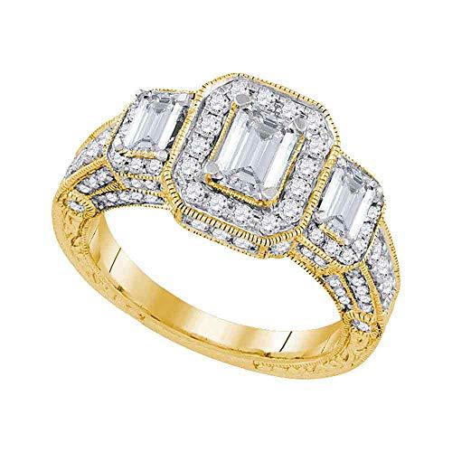 Jewel Tie - Size 9 - Solid 14k Yellow Gold Emerald Diamond 3-stone Bridal Engagement Ring Wedding Band Set 2.00 Cttw.
