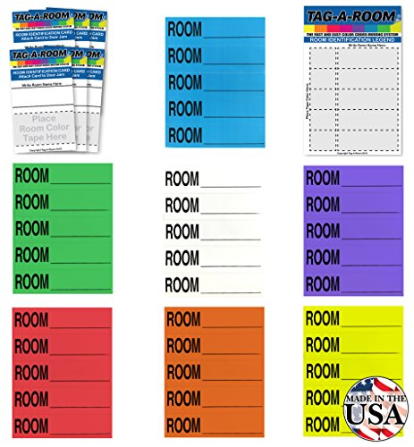 Tag-A-Room Color Coded Home Moving Box Labels Blank Customizable with Door IDs, 350 Count Moving Stickers, Moving Supplies