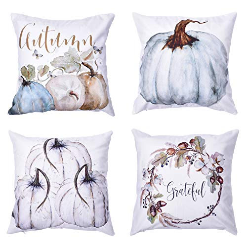 "Blovec Autumn Throw Pillow Covers Thanksgiving Day Decorative Pumpkin Pillow Covers Fall Harvest Pillow Cases Set of 4 Cotton Blend Cushion Covers 18""x18"""