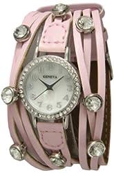 New! Shredded Wrap Watch with Rhinestones - Light Pink!