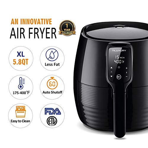 Air Fryer XL, 5.8Qt Electric Hot Airfryer Oven Oilless Cooker with Detachable Nonstick Basket, LCD Touch Screen, Timer Temperature Control, Dishwasher Safe, Auto Shut Off, W/50 Recipes, 1400W by US PIEDLE (Image #2)