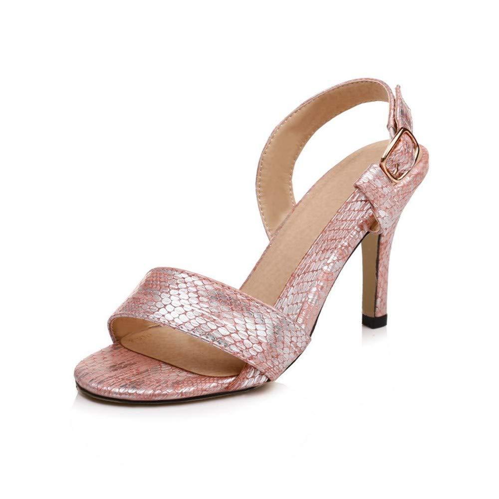 HmDco Sandali da Donna con Fibbia in Pelle con Tacco Alto, rosa