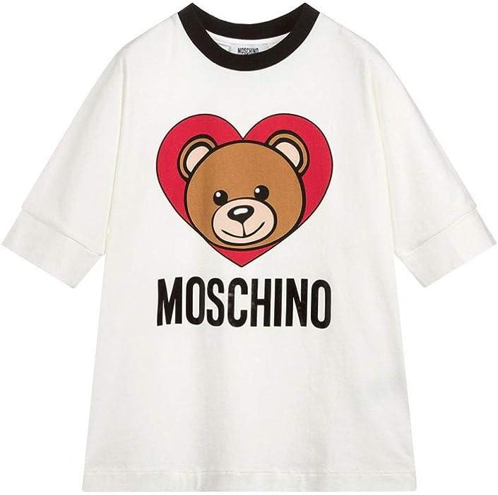 Amazon.com  Moschino Kids Girl s Short Sleeve Teddy Bear Heart Logo T-Shirt  (Big Kids) Cloud 10  Clothing bf80c487fe