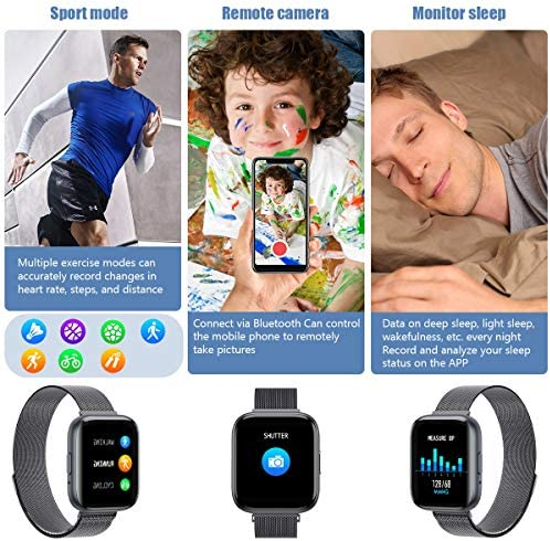 2021 Upgraded Smart Watch, Fitness Tracker with Heart Rate/Sleep/Steps Monitor Compatible for iPhone Samsung Android, Bluetooth Smartwatch for Men Women