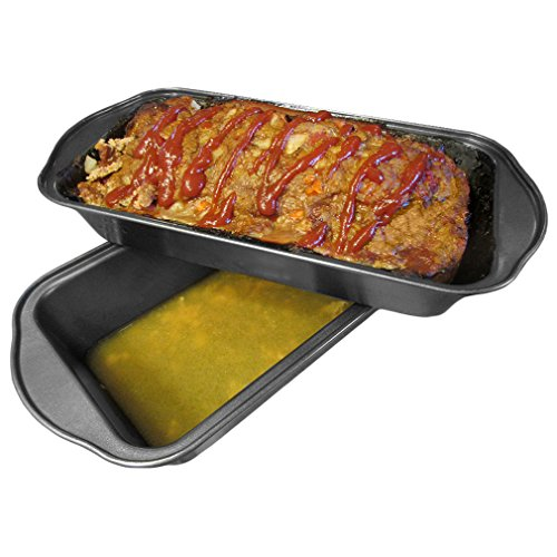 Evelots 2 Piece Non Stick Meatloaf Pan Drains Fat As It Cooks - Cooking & Baking by Evelots