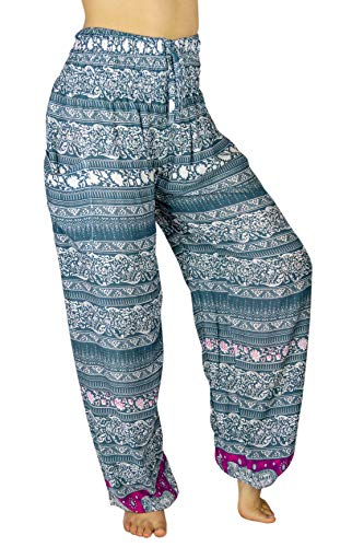 PI Yoga Pants - Women's Lounge Boho Athleisure Wear, Scrunched Bottom (Stretches from US Size 0-12) - Boutique Elephant