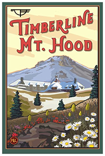 (Timberline Lodge Mt Hood Oregon Spring Travel Art Print Poster by Paul A. Lanquist (12