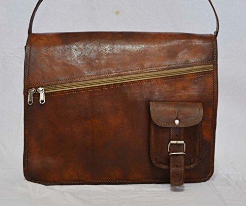 silkroude Vintage läder messenger äkta get gömmer väska äkta bärbar dator portfölj