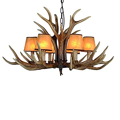 EFFORTINC Antlers vintage Style resin 6 light chandeliers, American rural countryside antler chandeliers,Living room,Bar,Cafe, Dining room deer horn chandeliers(with Lampshade)