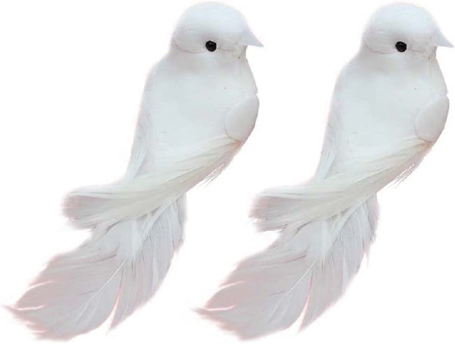 Yalulu 2Pcs Decorative Fake Doves Artificial Foam Feather White Birds with Magnet,Craft Bird for Home Ornaments,Wedding Decor