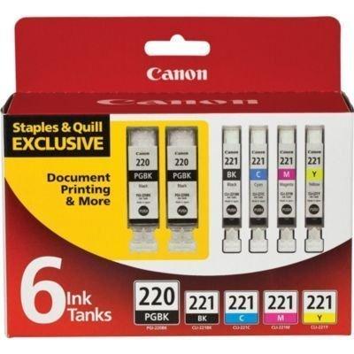 Canon PGI-220BK Black and CLI-221 B/C/M/Y Color Ink Cartridges (2945B015), Combo 6/Pack