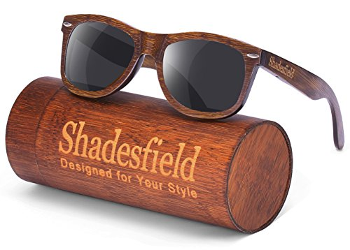 97673325bb Shadesfield Wayfarer Wood Sunglasses with Polarized Lenses for Men or Women  - 100% UV Protection