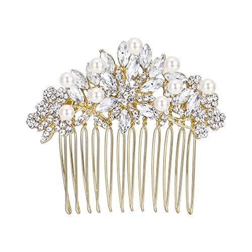 EVER FAITH Gold-Tone Austrian Crystal Cream Simulated Pearl Bridal Lots Leaves Flowers Hair Comb Clear -