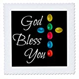 3dRose Alexis Design - Holidays Easter - God bless you text and cross of colorful Easter eggs on black - 22x22 inch quilt square (qs_271650_9)