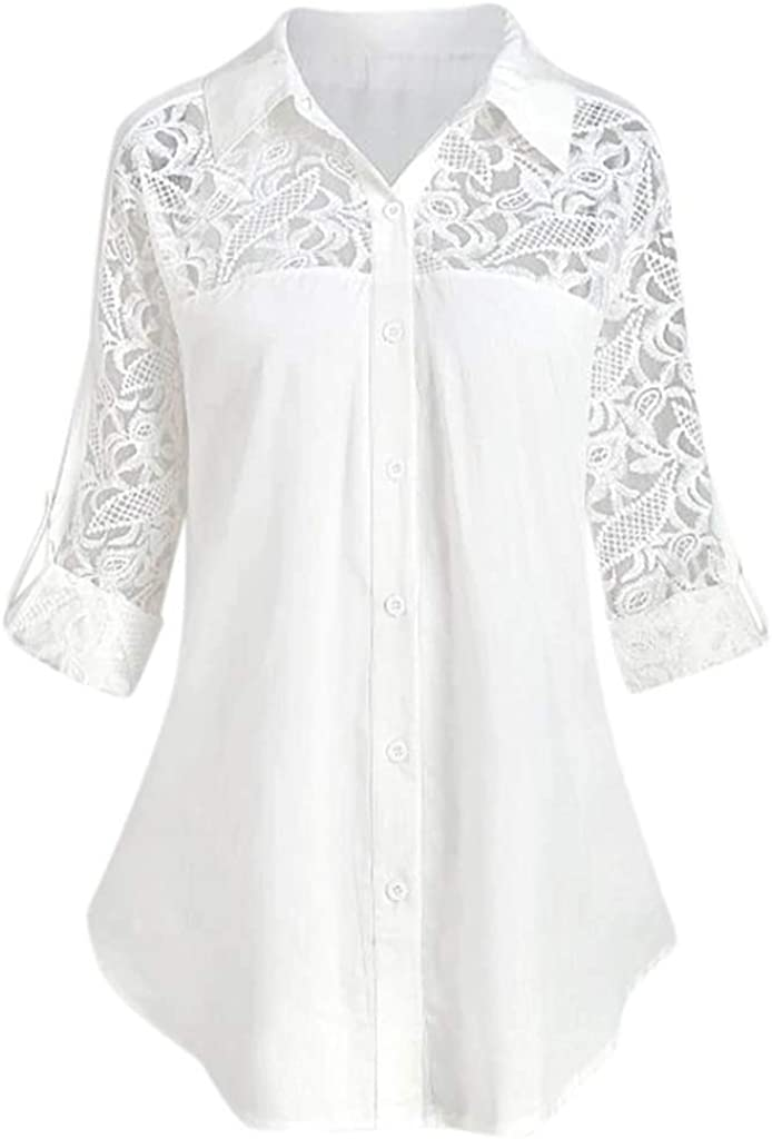 Dainzusyful T-Shirt for Women Button Lace Turn Down Collar Roll up Sleeve Casual Tunic Blouses Tops Plus Size