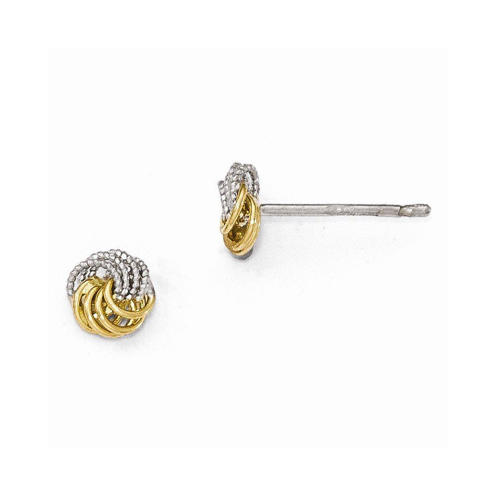 Leslies 14k Two-tone Polished and Textured Love Knot Post Earrings